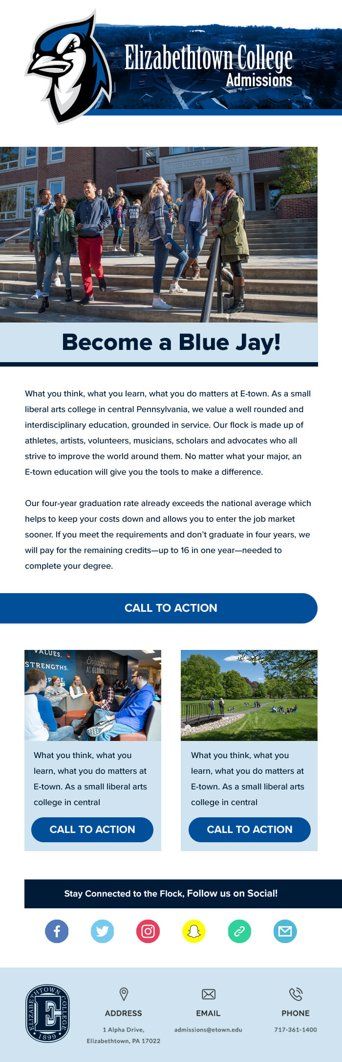Elizabethtown Admissions Email Template