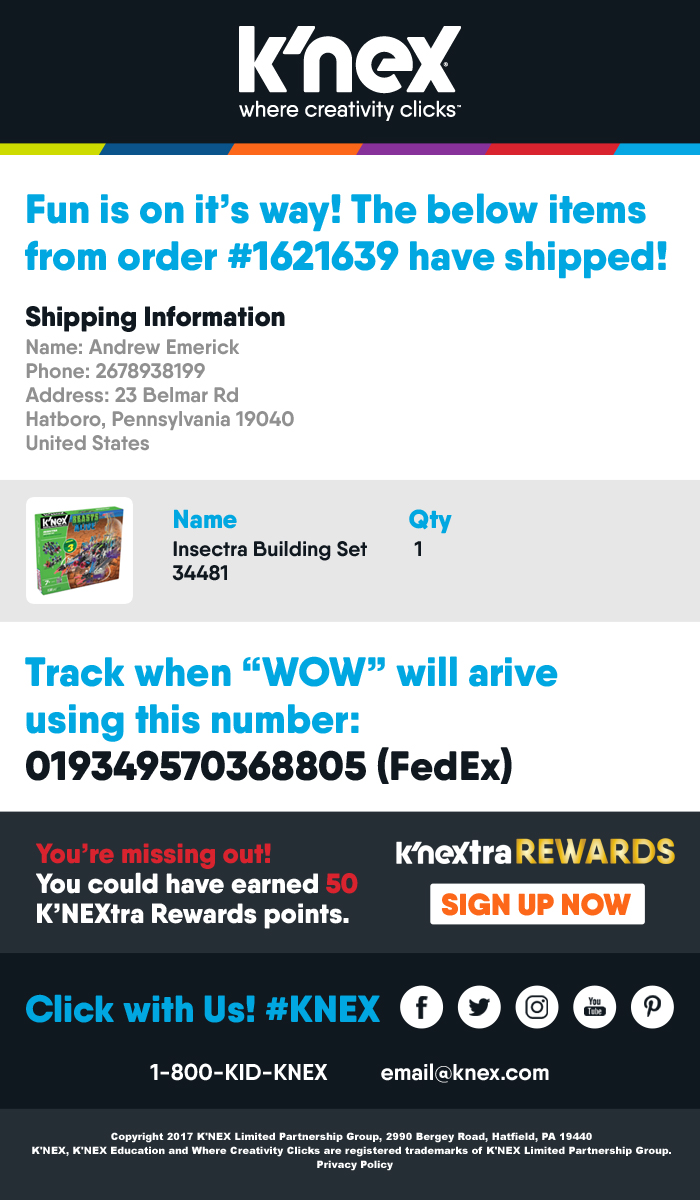 K'NEX Shipping Confirmation Email